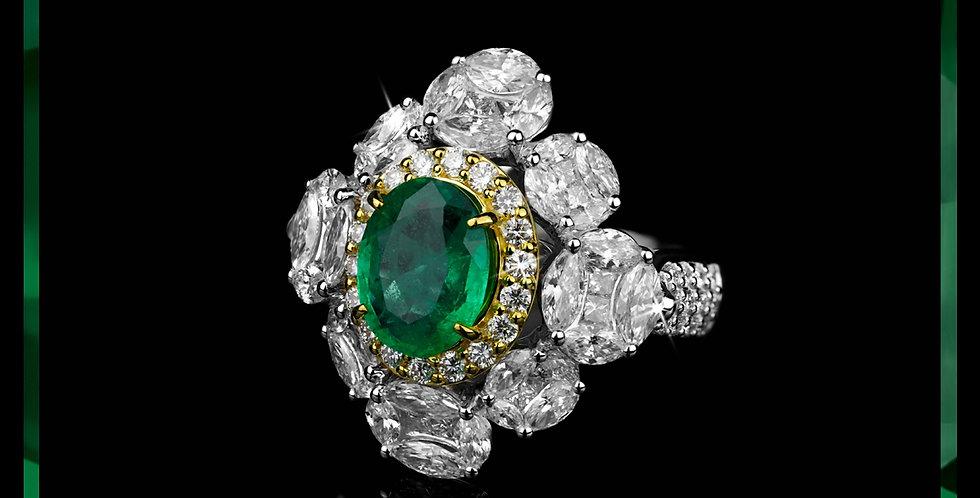 Avantgarde Emerald Cluster Ring
