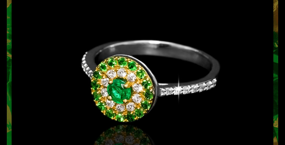 Le Soleil Tsavorite & Emerald Ring
