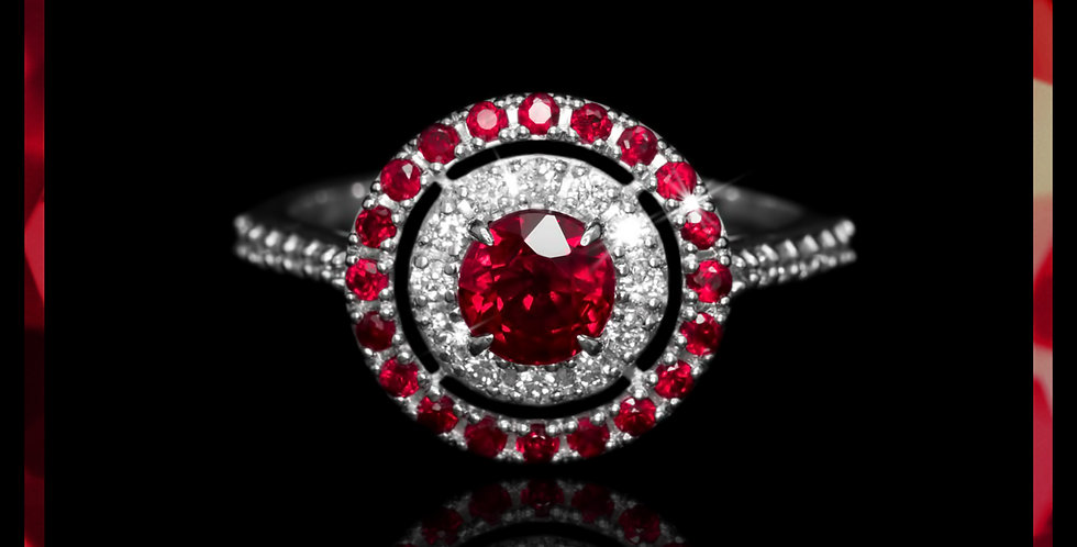 Le Soleil Halo Ruby Ring