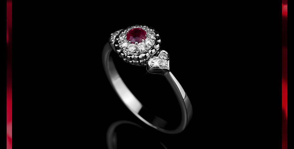 Le Soleil Ruby Hearts Ring