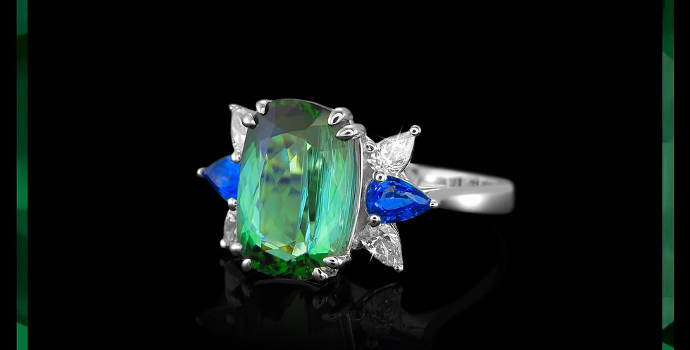 Avantgarde Tourmaline & Sapphire Ring
