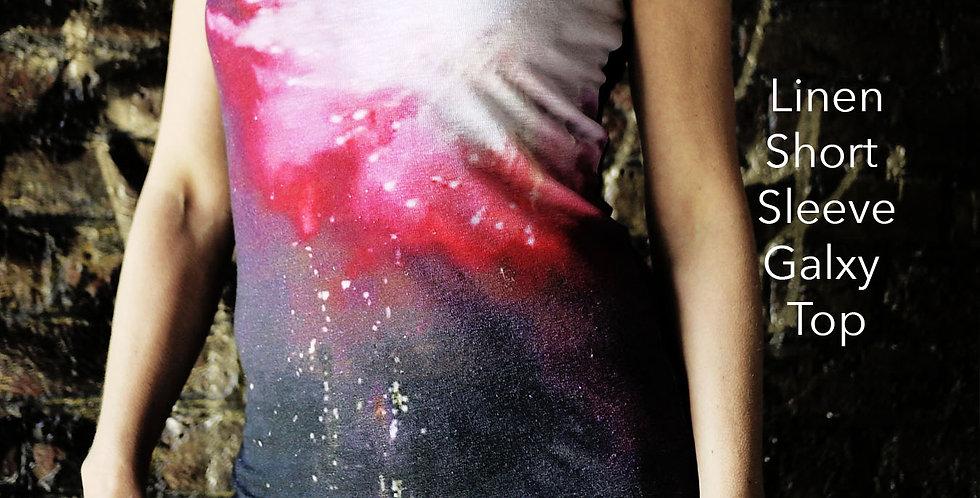 Linen Short Sleeve Galaxy Top