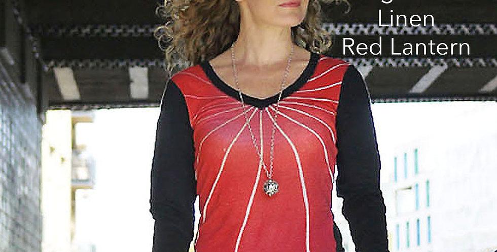 Linen Long Sleeve Red Lantern Top