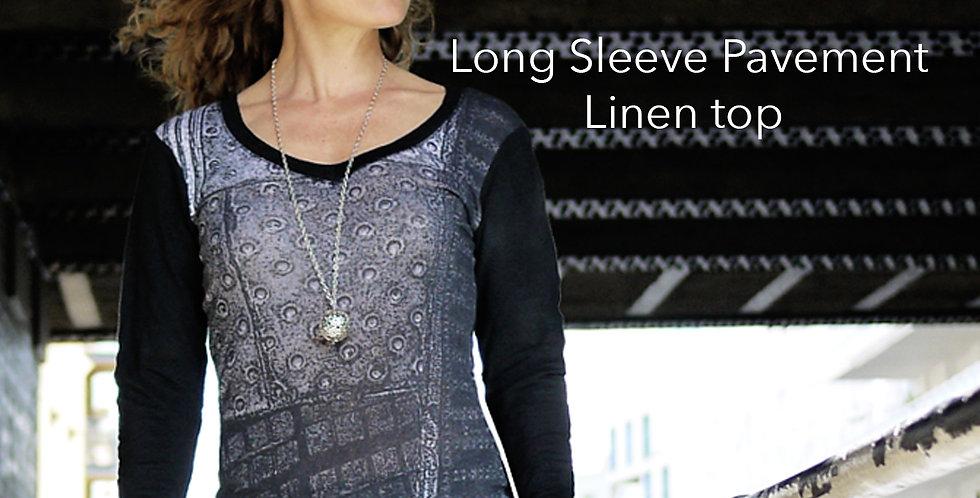 Linen Long Sleeve Pavement Top