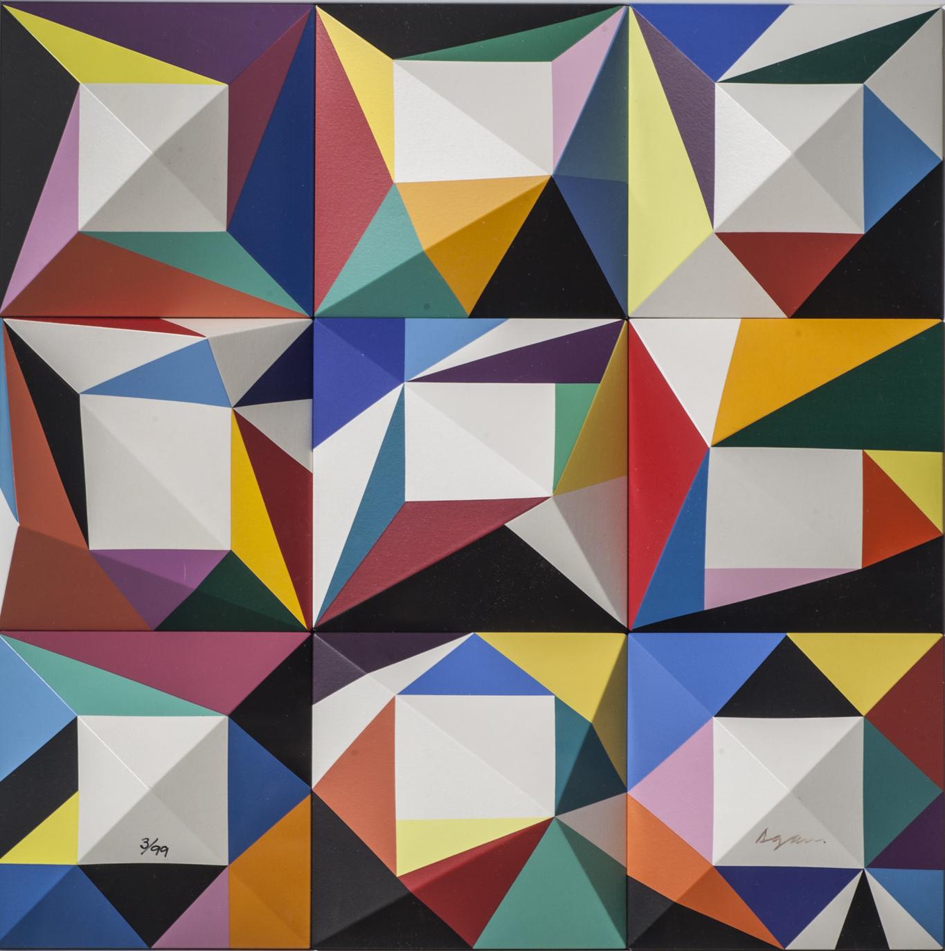 Yaacov Agam, Black Hole, 1985, Original Polymorph, 59x59x4 cm, ed. 3-99