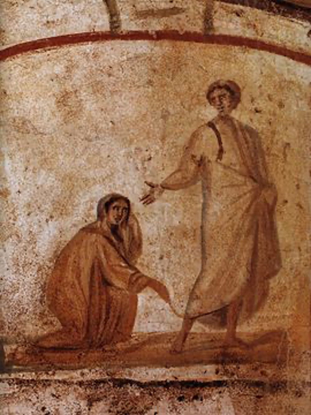 Christ Healing a bleeding woman, as depicted in the Catacombs of Marcellinus and Peter. This is a faithful photographic reproduction of a two-dimensional, public domain work of art.