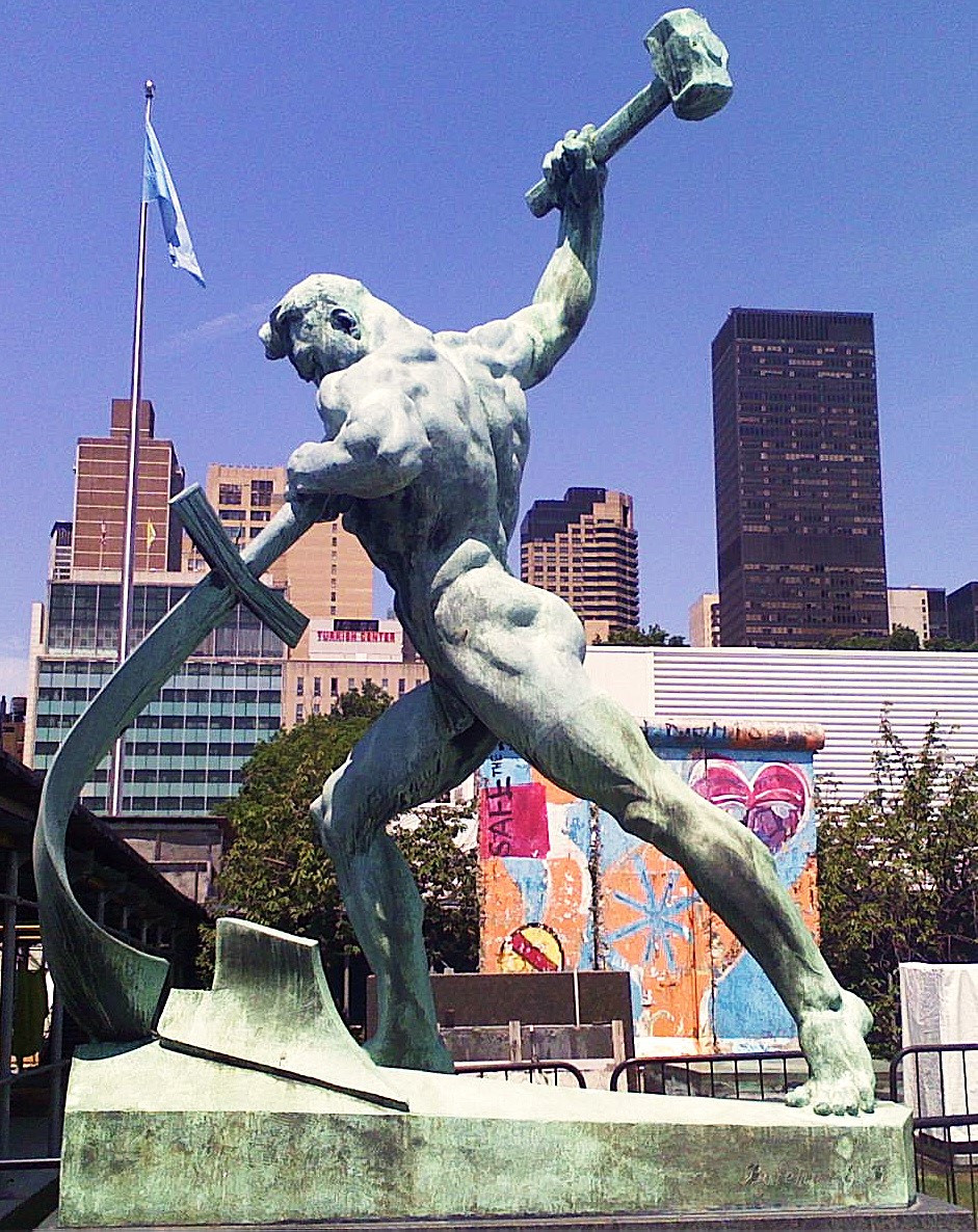 Photo: Let Us Beat Swords into Plowshares, a sculpture by Evgeniy Vuchetich in the United Nations Art Collection