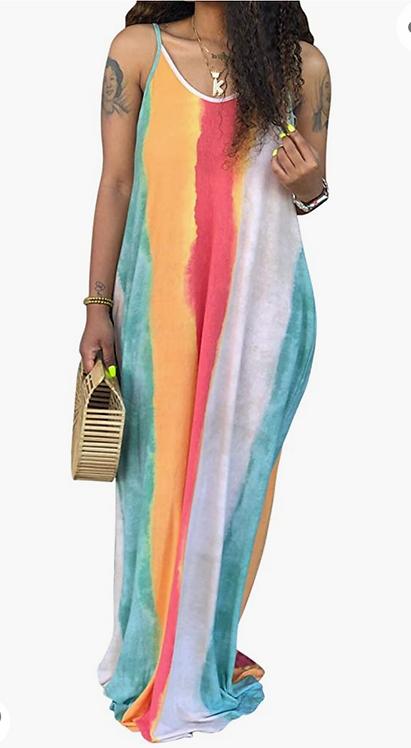 Turquoise Striped Maxi Dress