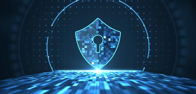Grafica concetto di sicurezza privata. Lucchetto digitale concetto di sicurezza. Sfondo della sezione chi siamo di Secur Management.