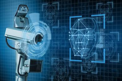 Surveillance camera with face recognition. grafica 3d animata videocamera di sorveglianza del kit integrato di vigilanza di secur management. servizi di vigilanza, videosorveglianza per aziende e privati a Latina e in Italia.