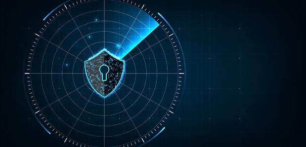 Grafica concetto di sicurezza privata. mirino lucchetto allarme radar digitale concetto di sicurezza. Sfondo della sezione dove operiamo di Secur Management.
