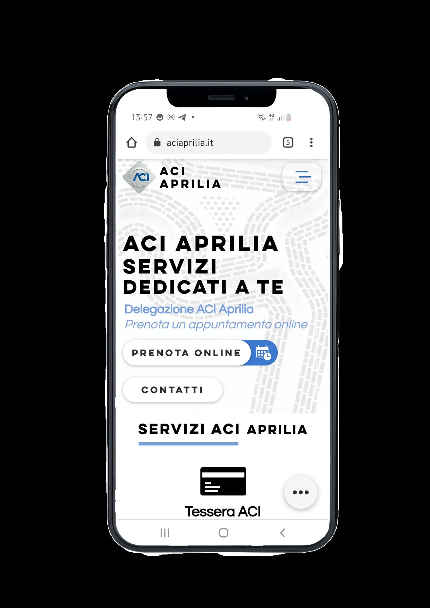 Mokup mobile progetto sito web ACI