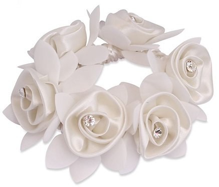 SD DESIGN ROSE SCRUNCHIE WITH DIAMANTEES - WHITE