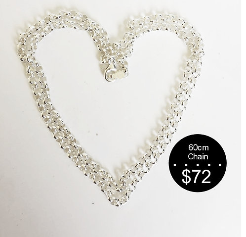 60cm STERLING SILVER CHAIN