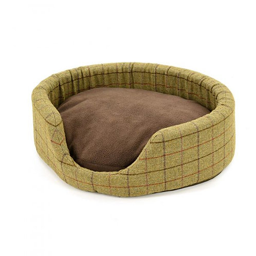 TWEED MILL OVAL DOG BED W/ SUEDE BASE - SMALL