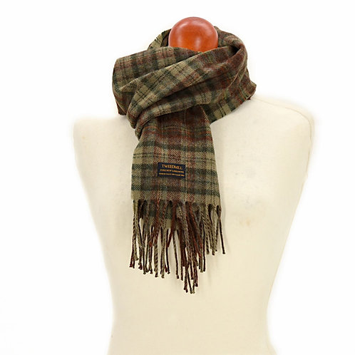 TWEED MILL WOOL TARTAN SCARF-COUNTRY CHECK  OLIVE