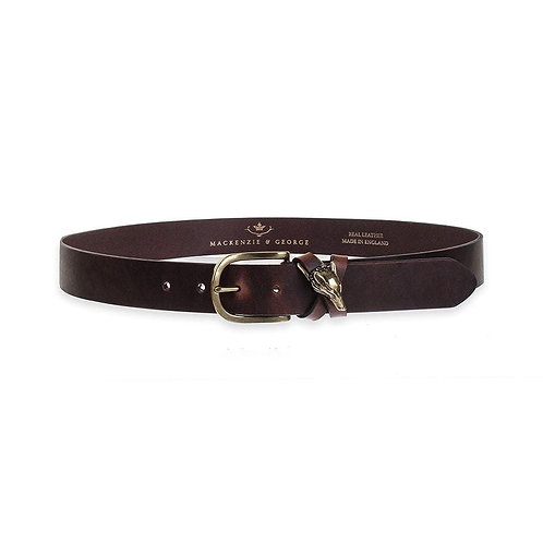MACKENZIE & GEORGE CROSS FOX BELT - CHOCOLATE/BRASS
