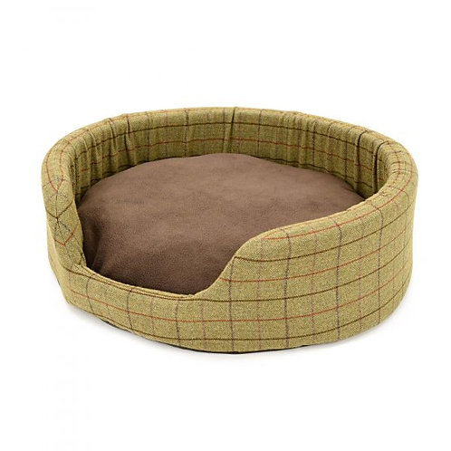 TWEED MILL OVAL DOG BED W/ SUEDE BASE - LARGE