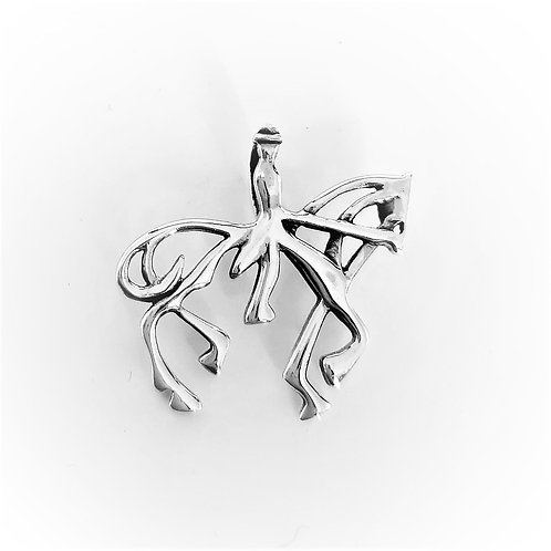 STERLING SILVER HORSE RIDER OUTLINE PENDANT