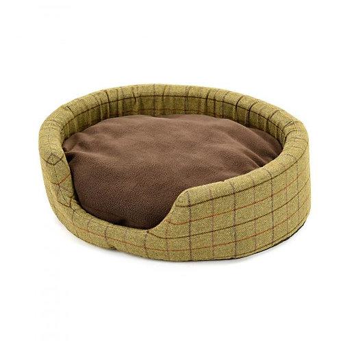 TWEED MILL OVAL DOG BED W/ SUEDE BASE - MEDIUM
