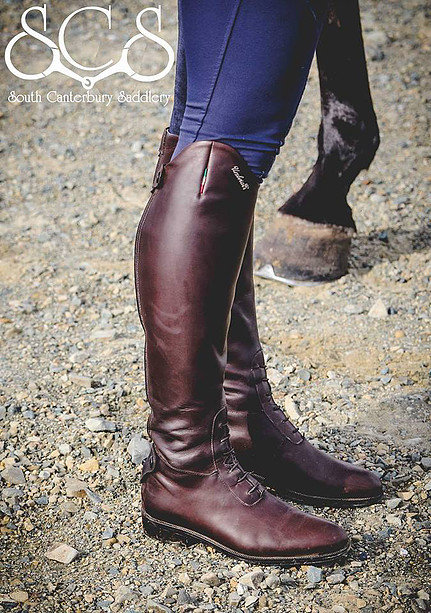 UMBRIA ITALIAN TALL LEATHER RIDING BOOTS W/ LACES