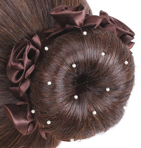 SD DESIGN HAIR NET WITH PEARLS  - BROWN