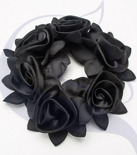 SD DESIGN ROSE SCRUNCHIE  - BLACK