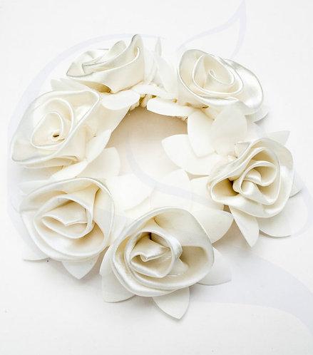 SD DESIGN ROSE SCRUNCHIE  - WHITE