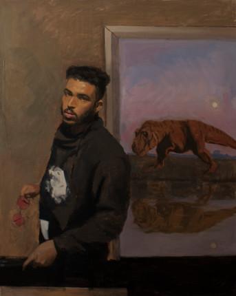 Self-Portrait with Dinosaur