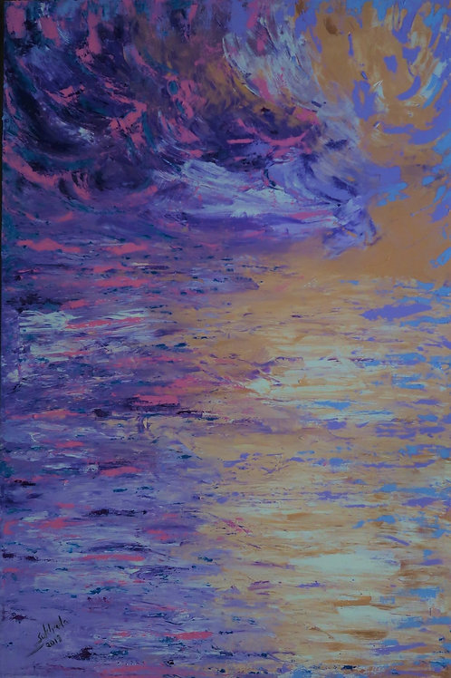 Sea and The Sunset (36''X28''X1.5'')