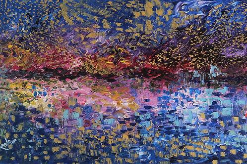 A Happy Lake at Night (18''X36''X1.5'')