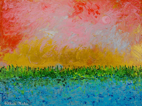 The Sunset and The Moonrise (30''x40''x1.5'')