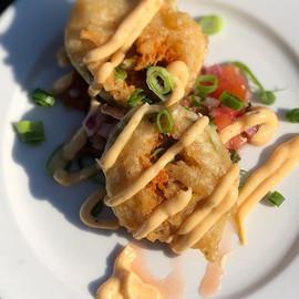 Avocado tempura stuffed with cheddar che