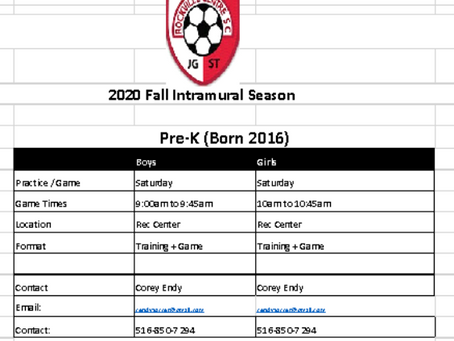UPDATED INFORMATION RE: Intramural Soccer (Fall 2020).... Please review!