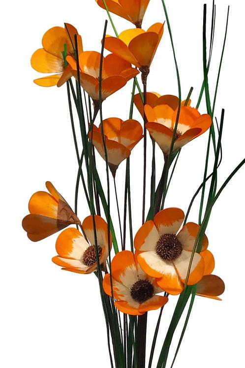 6 Stem Tangerine Cali Poppy hand made by Sola Woods