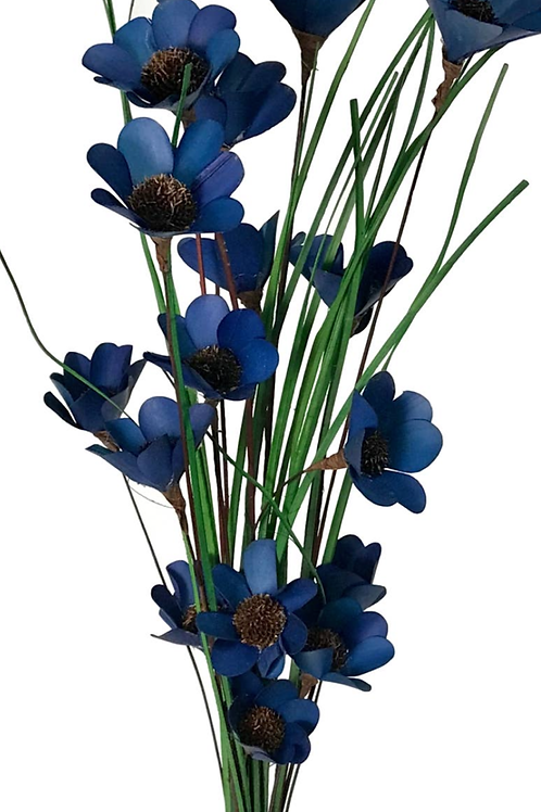 6 Stem Cobalt Blue Poppy Bouquet HandMade by Sola Wood