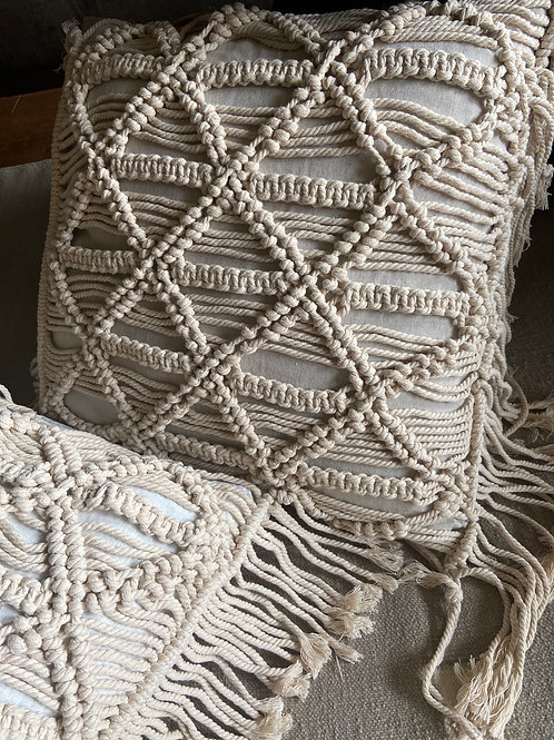 PILLOW PROMO! Buy 2, get 20% off: Thick Weave Macrame Over Sz Pillow