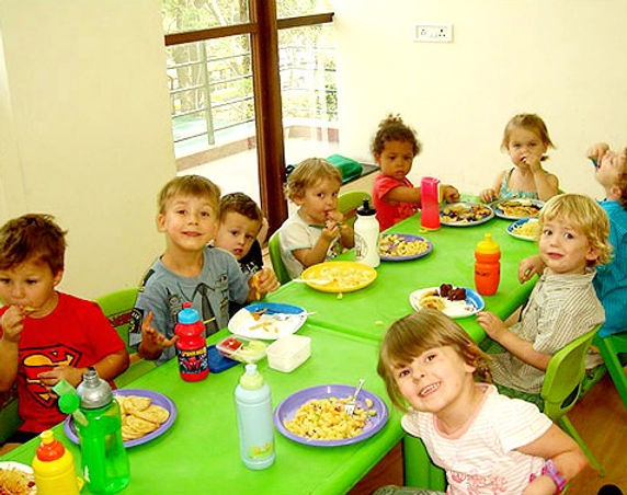 Our kids during their lunch breaks