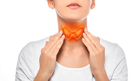 Woman showing painted thyroid gland on h