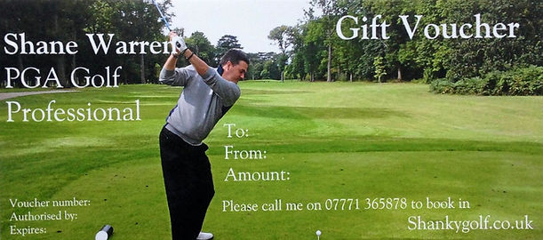 Shankygolf gift voucher