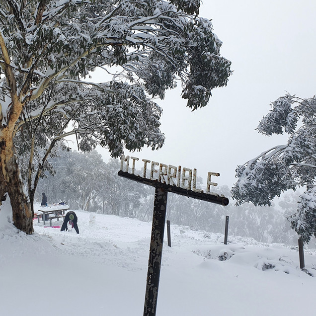 Mt Terrible sign in snow Winter no access fee