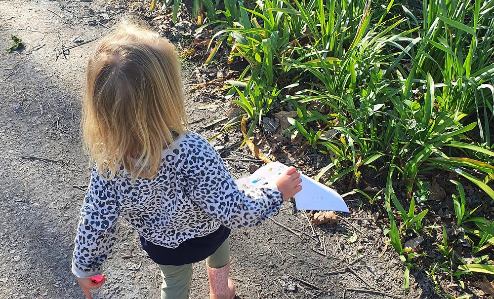 Outdoor activity for children on holidays camping scavenger hunt caravan park