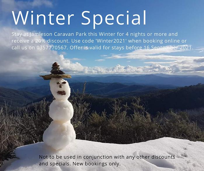 winter special jamieson caravan park