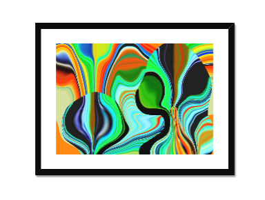 Green Hippy Framed and Mounted Print