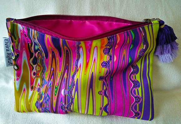 Psychedelic/pink cosmetic pouch
