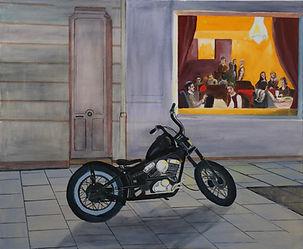 142-UNE MOTO A ARCACHON UN SOIR-60x75cm-Huile-Toile-250eu.jpg