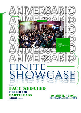 finite showcase, petricor, facy sedated, darth bass, argo, mescalina social club
