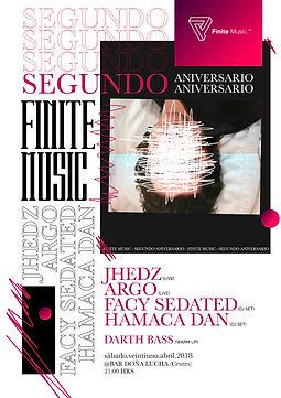 Flyer 2do aniversario de Finite en Doña Lucha Bar. Argo, Facy Sedated, Jhedz, Hamaca Dan.