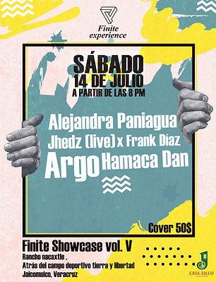 Flyer Finite Experience en Jalcomulco, Mexico. Argo, Alejandra Paniagua, Jhedz, Hamaca Dan, Frank Diaz.