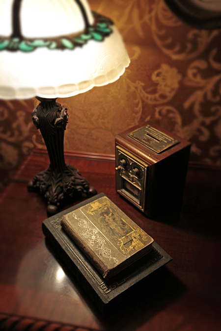 Lamp, books, lock box.